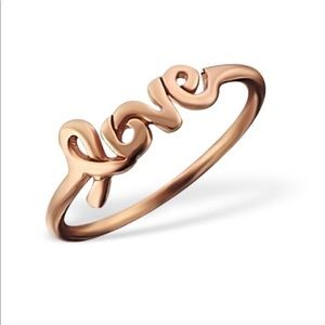 925 Sterling Silver Rose Gold Love Ring